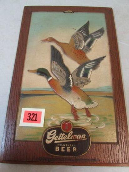 Rare Antique Gettelman Beer Masonite 3-D Advertising Sign