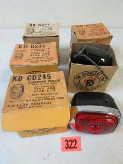 (5) Vintage 1950's K-D Automobile Stop/ Rear/ Door Lights NOS