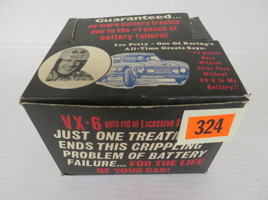 """Vintage NOS VX-6 Battery Additive Store Display Box w/ Nascar """"Lee Petty"""" Graphics"""