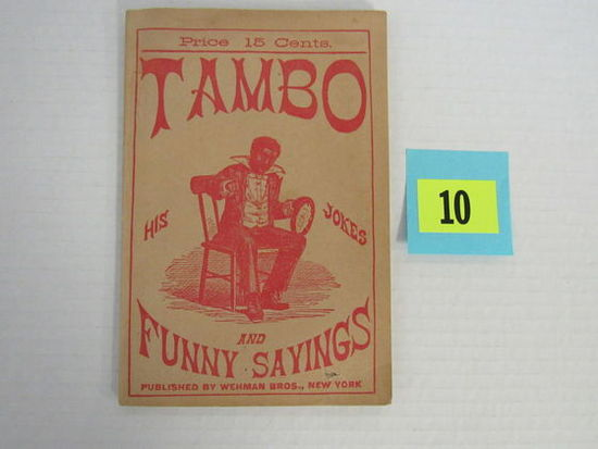 Rare 1882 Tambo : His Jokes & Funny Sayings Minstrel Book