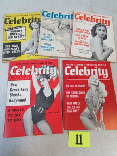 Lot (5) 1950's Celebrity Men's Pocket Pin-up Magazines