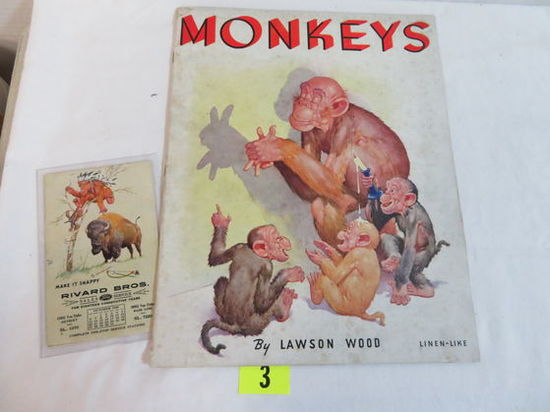 "1936 Lawson Wood 1st Edition Linen Like Soft Cover Illustrated Book ""monkeys"""