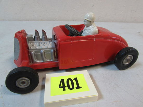 "Vintage 1950's Saunders 7"" Plastic Friction Hot Rod Roadster"