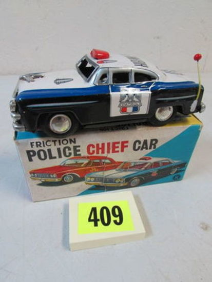 "Vintage 1950's Japan Tin Friction 5.5"" Police Car Mib"