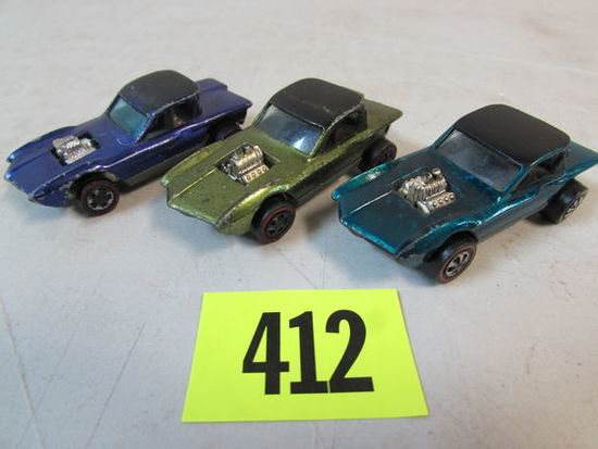 (3) Vintage 1967 Redline Hot Wheels Python Aqua, Olive, Purple