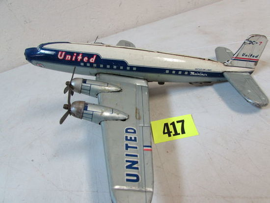 Vintage 1950's Japan Tin Friction United Airlines Dc-7 Airplane