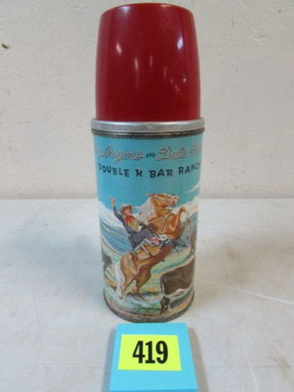Antique Roy Rogers And Dale Evans Metal Thermos For Lunchbox