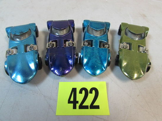 (4) Vintage Redline Hot Wheels Twinmill Olive, Ice Blue, Lt. Blue, Purple