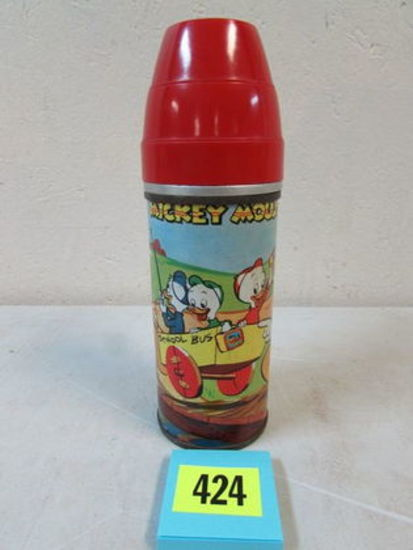Rare Antique 1954 Universal Disney Mickey Mouse Metal Thermos For Lunchbox
