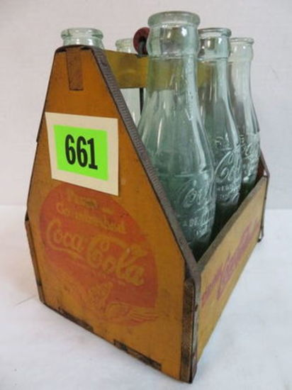 1940s Coca-Cola Wooden 6 Pack Carrier w/ Wings Logo Inc. 6 Coca-Cola Embossed Bottles