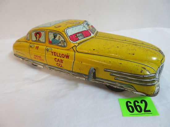 1940s Marx Tin Litho Key Wind Yellow Taxi Cab