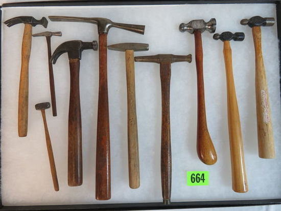 Lot of (10) Antique & Vintage Specialty Use Miniature Hammers