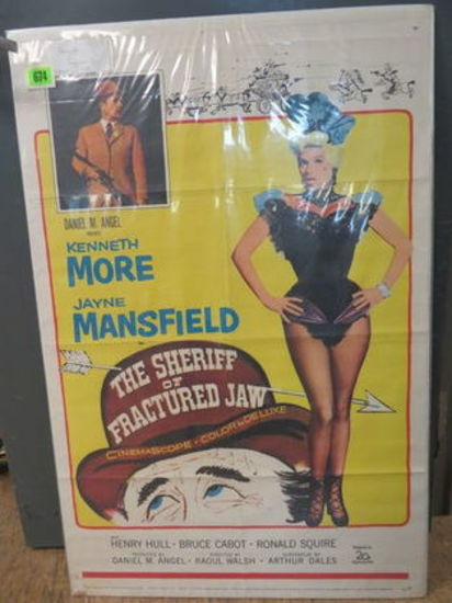 "Original 1958 ""The Sheriff Of Fractured Jaw""  Starring Jayne Mansfield One Sheet Movie Poster"