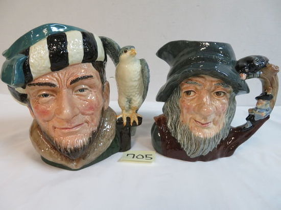 Lot of (2) Royal Doulton Large Size Toby Mugs Inc. The Falconer and Rip Van Winkle