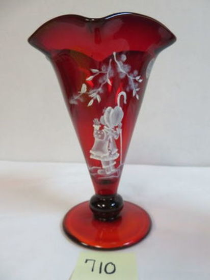 "Beautiful Fenton Mary Gregory ""Sheep Hearder"" Ruby Red Hand Painted Vase, Artist Signed"