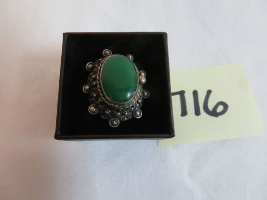 Beautiful Sterling Silver and Turquoise Ornate Ring