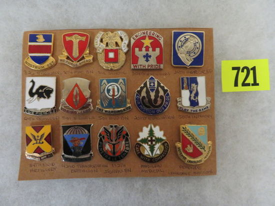 Grouping of (15) US Military Unit Enameled Insignia Lapel Pins