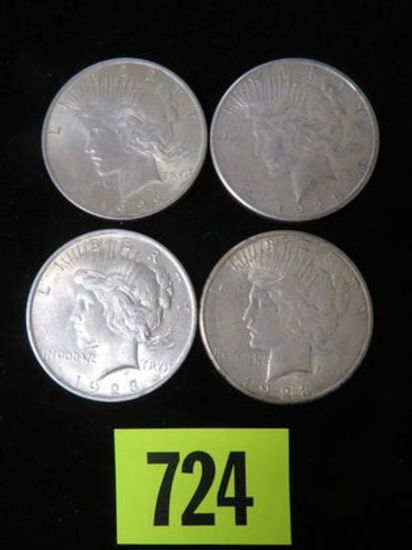 Group of (4) Peace Silver Dollars