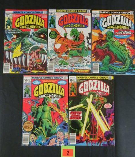Godzilla #1, 2, 3, 4, 5 Bronze Age Marvel