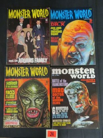 Monster World #1, 4, 8, 9 Silver Age Warren Pub.
