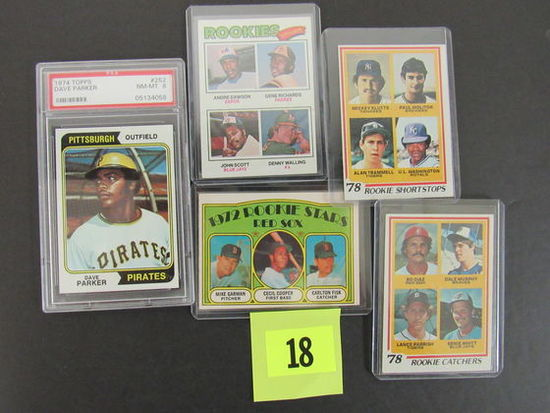 Lot (5) 1970's Baseball Superstar Rookie Cards