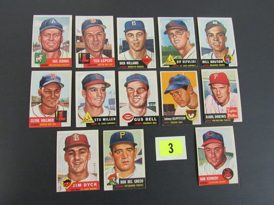 Lot (13 Diff) 1953 Topps Baseball Cards