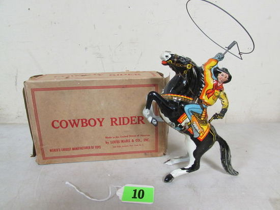 Antique Marx Cowboy Rider Tin Wind-up Toy In Orig Box