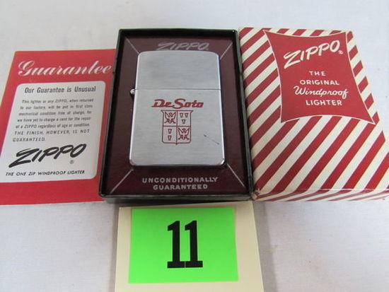 Rare Vintage Zippo Lighter Mib Desoto Automobile