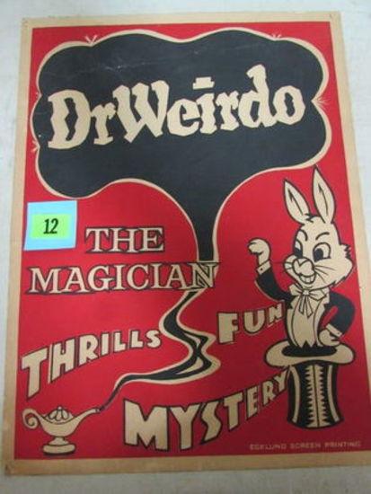 """Original Antique Dr. Weirdo Magician Cardboard Sign 14 X 19"""""""