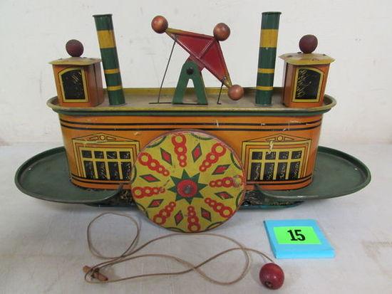 """Antique Wolverine Tin Mechanical Tug Boat/ Paddle Wheel 15"""""""
