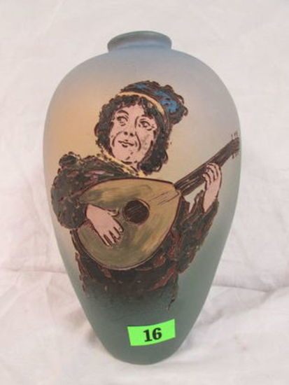 "Beautiful Weller Dickens Ware Ii (1900-1905) 11"" Vase "" Lute Player"""