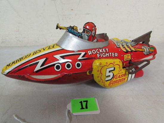 Rare Antique Marx Tin Wind-up Flash Gordon Rocket Fighter