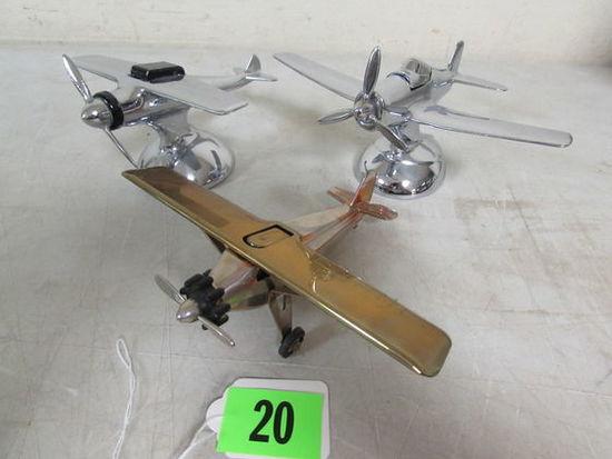 Excellent Lot (3) Vintage Chrome Airplane Table Lighters