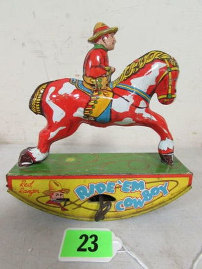Antique Wyandotte Red Ranger Tin Wind-up Ride'em Cowboy