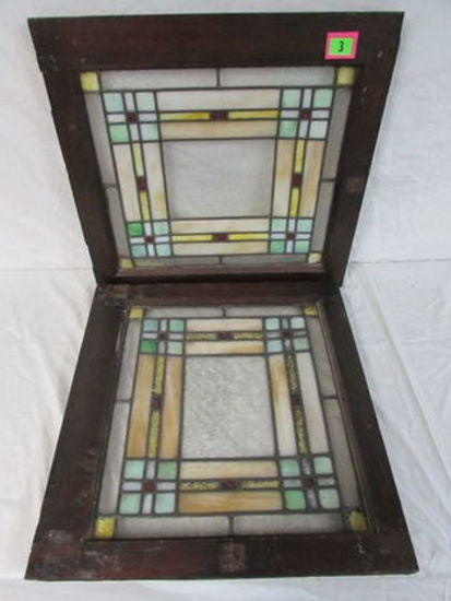 Beautiful Pair Matching Antique Stained Glass Windows