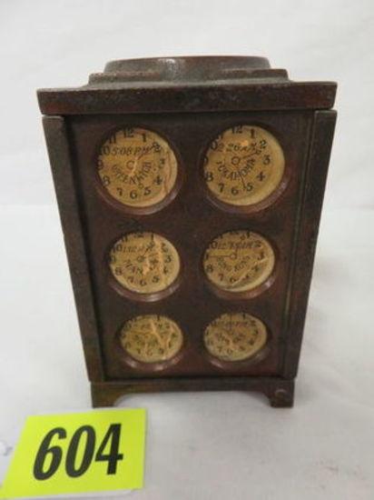 Antique Arcade World Time Clock Cast Iron Bank