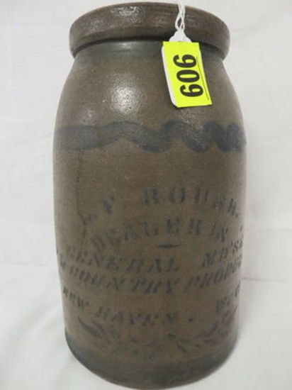 Antique Stoneware Advertising Canning Crock, L.F. Roush (New Haven, W. Virginia)