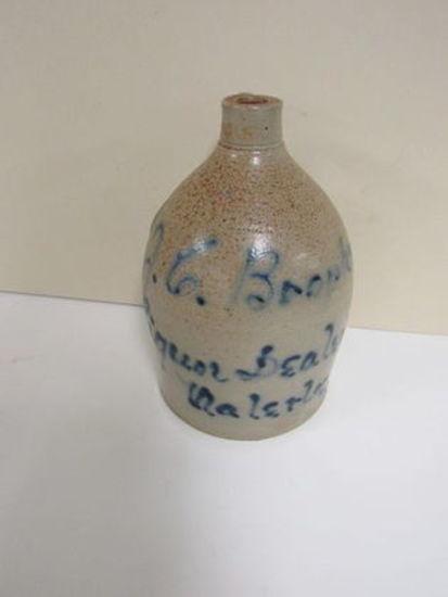 Antique J.C. Brophy Liquor Dealer (Waterloo, NY) Salt Glaze Stoneware Jug