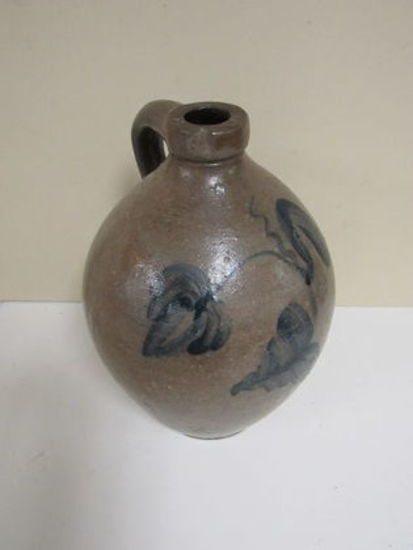 Antique Ovid Stoneware Jug with Salt Glaze Flowers