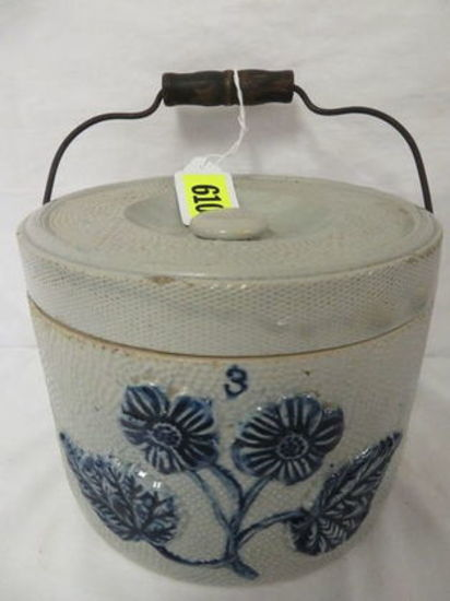 Antique Stoneware 3 lb. Butter Crock with Lid