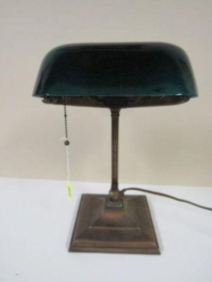 Antiique Signed Emeralite Brass Bankers Desk Lamp