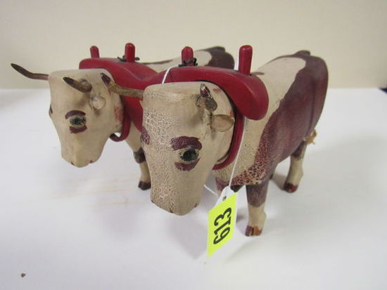 Outstanding Carved Wood Folk Art Oxen Team With Yoke