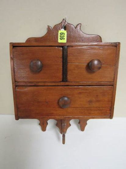 Early Primitive 3 Drawer Pine Hanging Cabinet