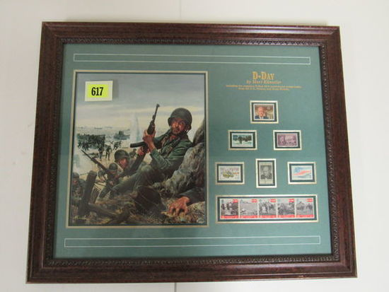 """Beautiful Framed """" D-Day"""" 50th Anniversary Postage Stamp / Print"""