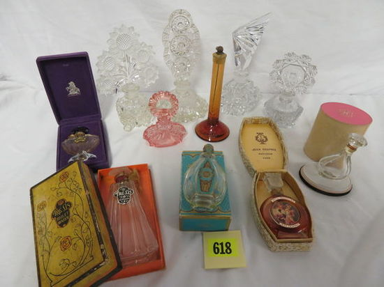 Excellent Grouping of (11) Antique Perfume Bottles, Some in Boxes
