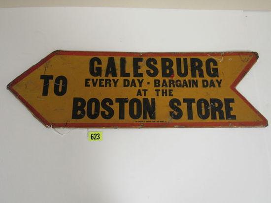 Antique Galesburg Boston Store Embossed Metal Sign