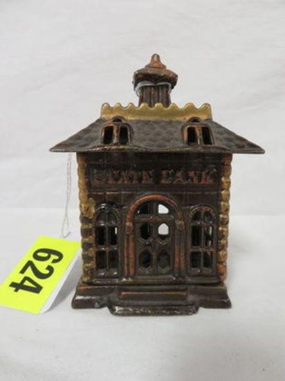 Antique Arcade State Bank Cast Iron Building Bank