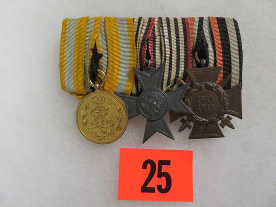 WWI Imperial German (3) Medal Mounted Bar
