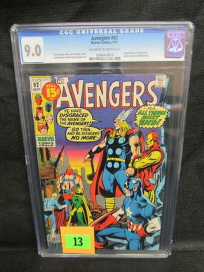 Avengers #92 (1971) Silver Age Neal Adams Cover Cgc 9.0
