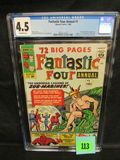 Fantastic Four Annual #1 (1963) Origin Of Sub-mariner/ Early Spiderman Cgc 4.5